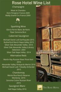 Rose Hotel Wine List